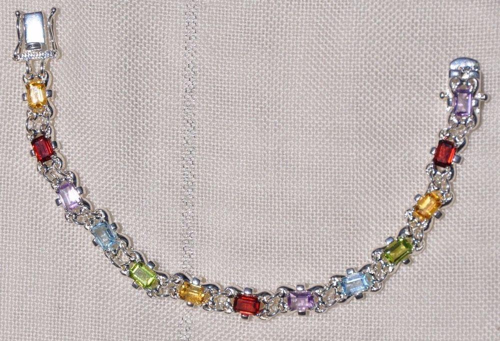 925 silver colored stones bracelet
