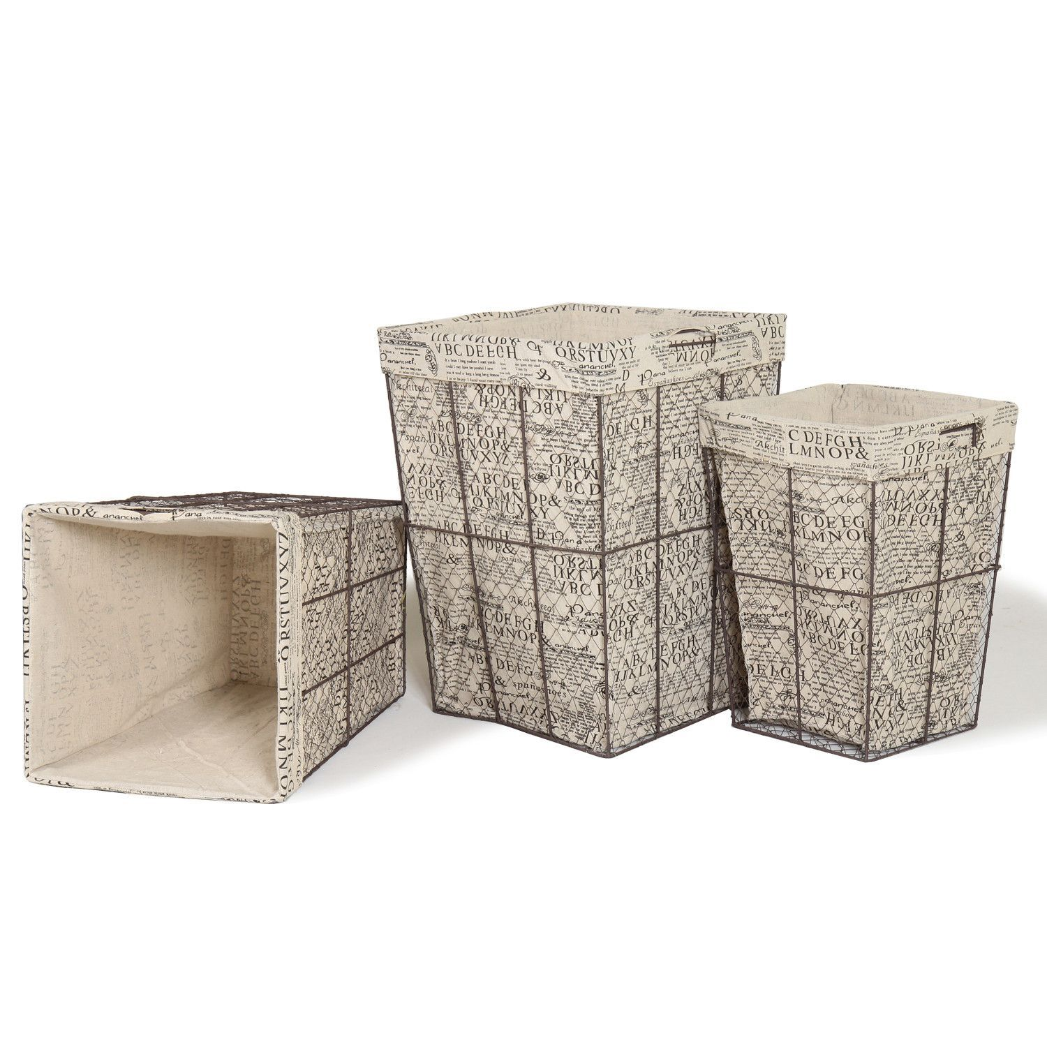Multi Purpose Tall Square Iron Baskets With Newspaper Print Lining