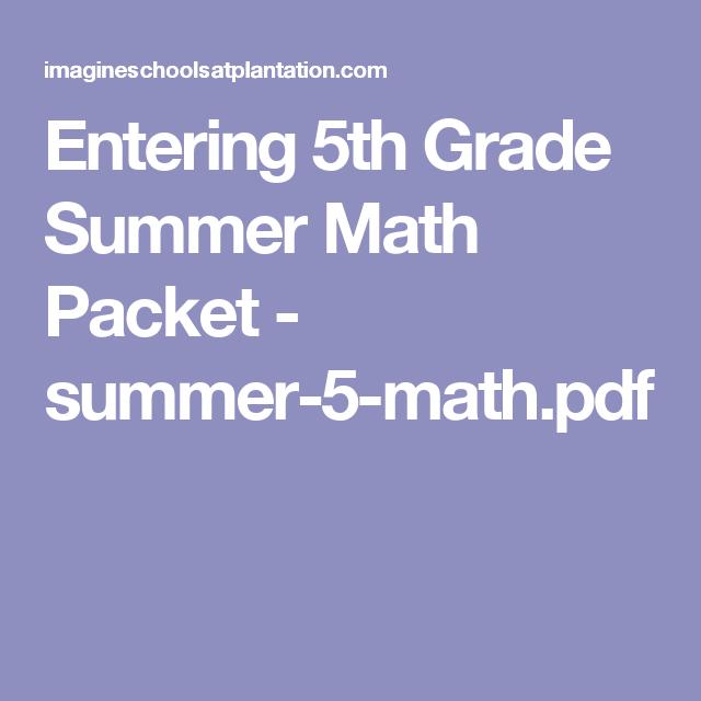 Entering 5th Grade Summer Math Packet - summer-5-math pdf