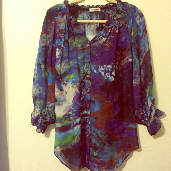 Multicoloured sheer blouse Fun, colourful and breezy. This blouse is perfect with white pants or tucked into a pencil skirt for work. A rainbow of colours in a watercolour design, button down, ruffled collar. Tops Blouses