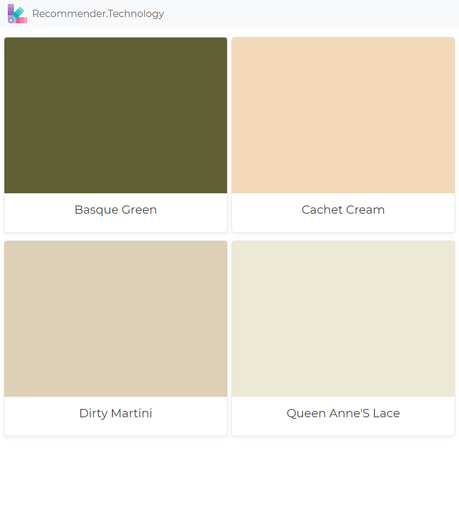 Basque Green Cachet Cream Dirty Martini Queen Anne S Lace Paint Color Palettes