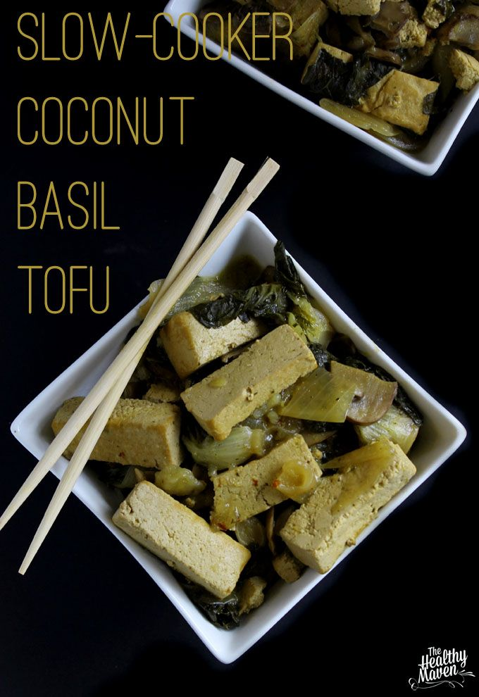 Slow Cooker Coconut Basil Tofu - yes, you can cook tofu in the slow cooker! This easy, no-fuss slow cooker coconut basil tofu is sure to be a hit recipe!