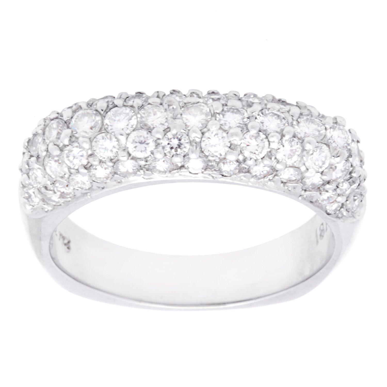 overstock wedding rings 18k White Gold 1 1 4ct TDW Pave Diamond Band G H VS2 SI1