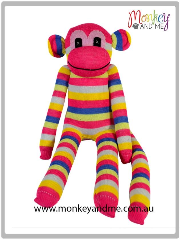 Pink White Yellow Pink Blue Yellow this stripes Sock Monkey  Adopt over at monkeyandme.com.au #sockmonkeys #gifts #toys