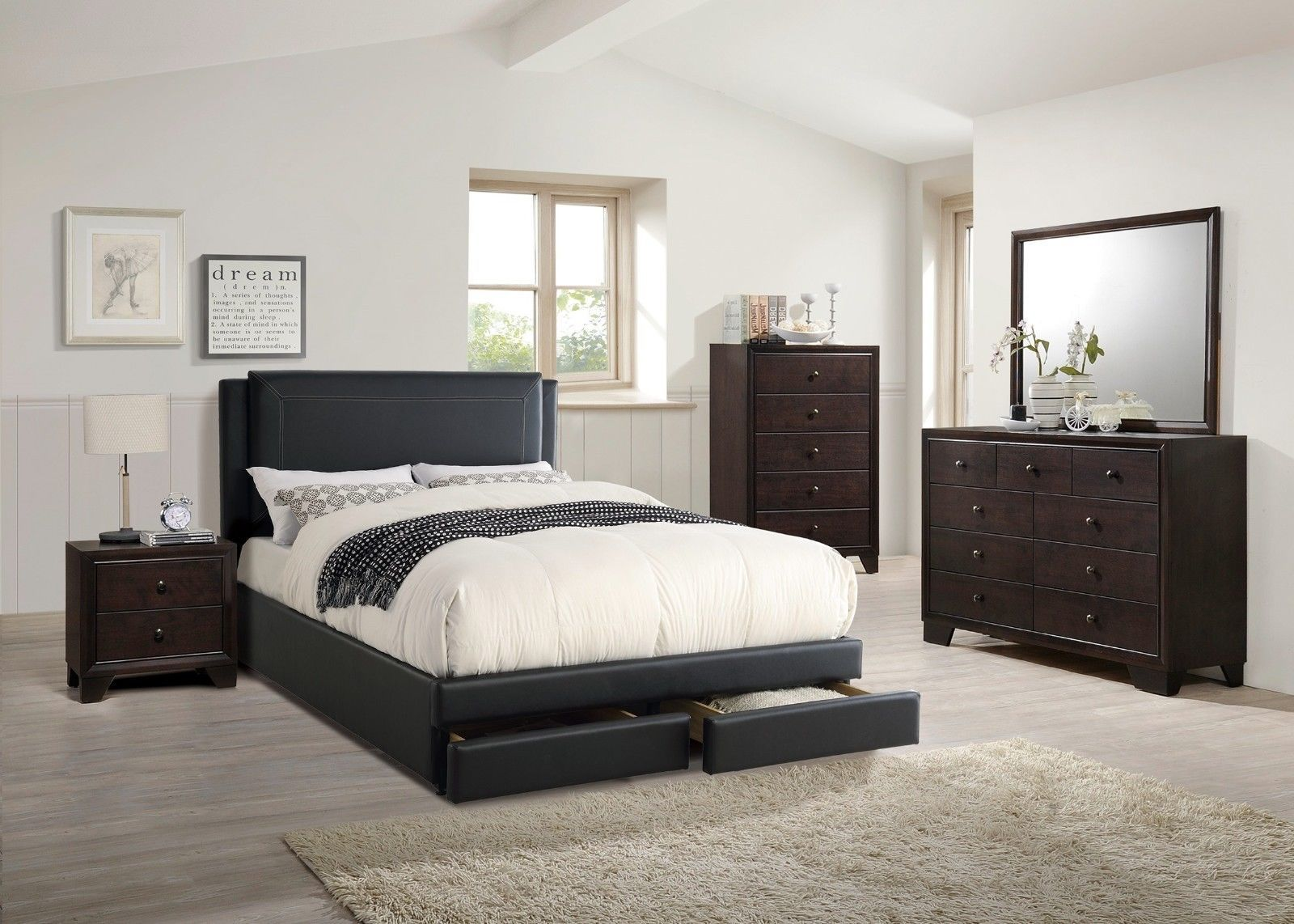 Cal King Size Storage Bed Dresser Mirror Nightstand 4p Bedroom Set ...