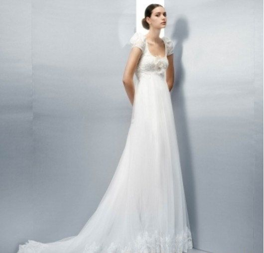 short sleeves scoop empire waist lace and tulle wedding dress ...