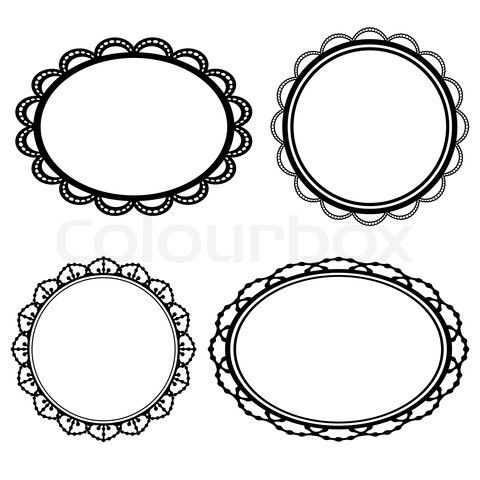 Stock Image Of Set Frame Oval Lace Black Silhouette