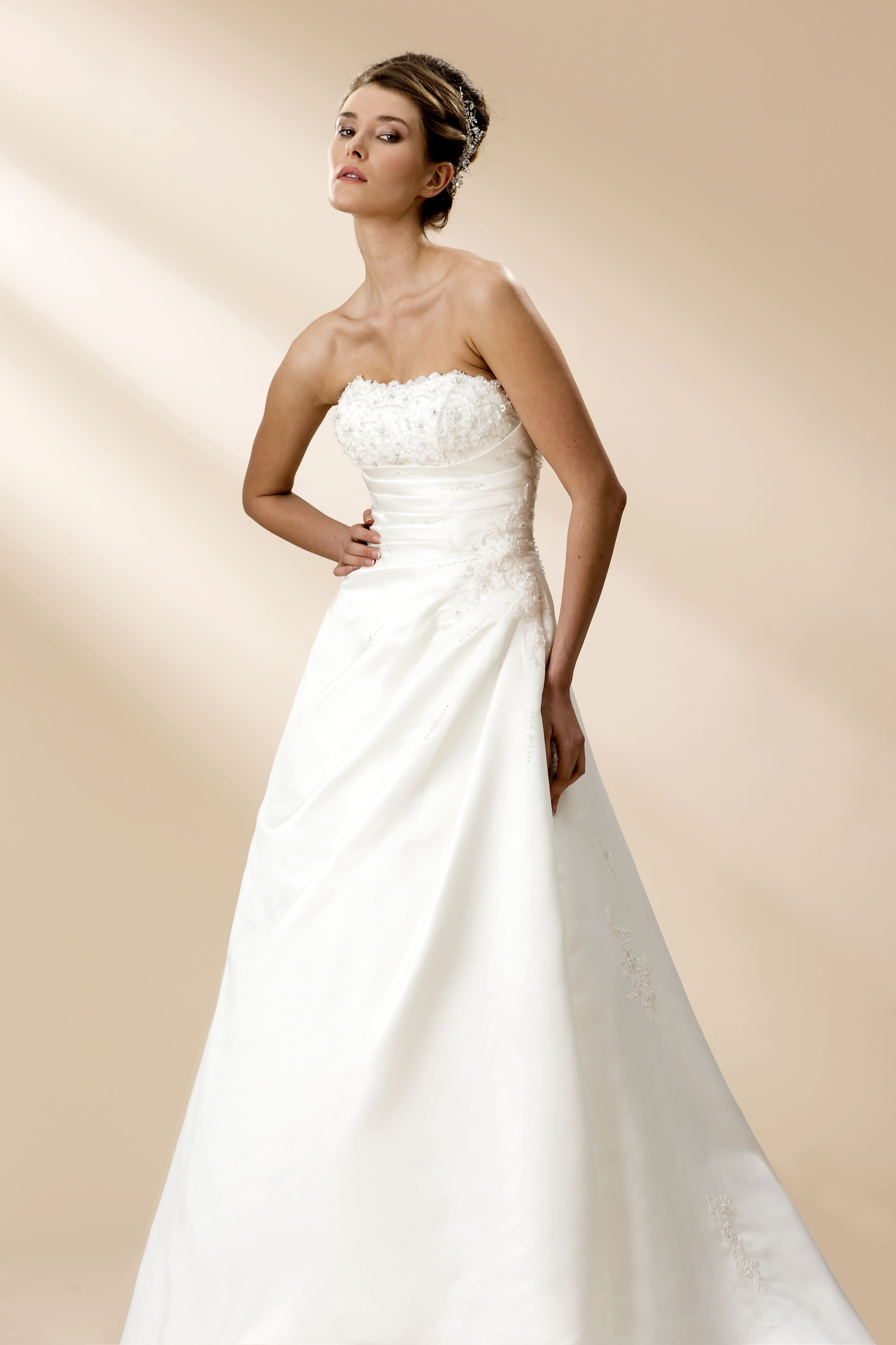 True Bride W114 Aline satin strapless gown with pretty