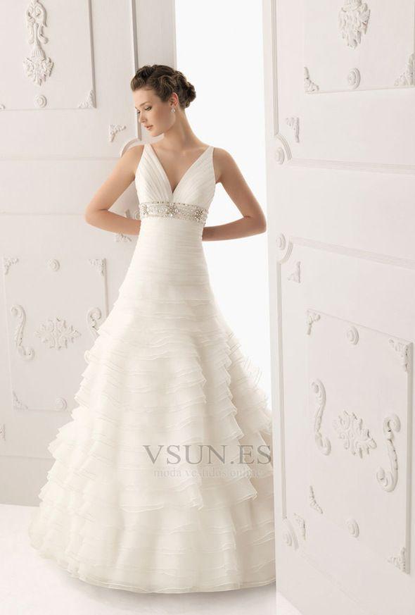 Vestido de novia Romántico Cinturón de cuentas Baja escote en V Escote en V