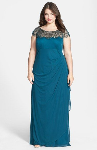 Xscape Embellished Yoke Matte Jersey Gown Plus Size Available At