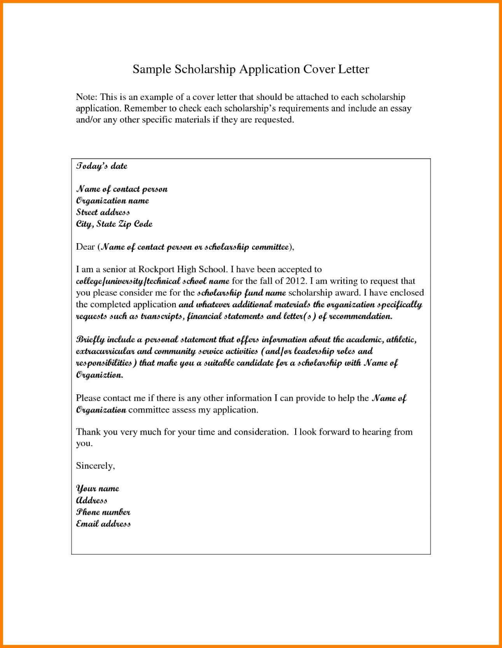 High School Scholarship Application Letter Sample Pear