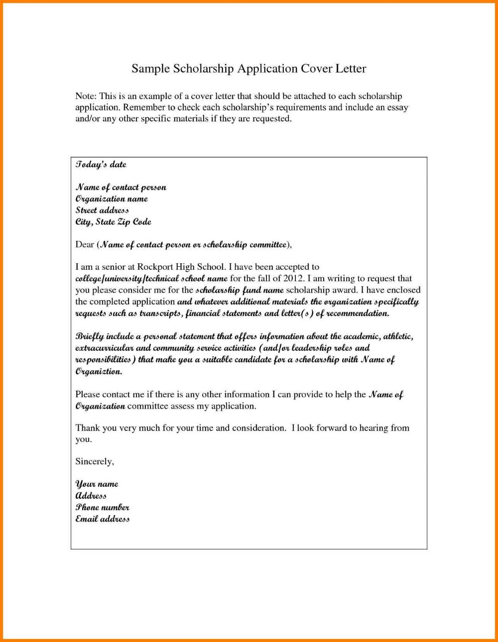 High School Scholarship Application Letter Sample Pear