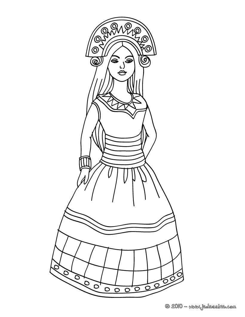 coloriage princesse inca incas pinterest coloriage princesse