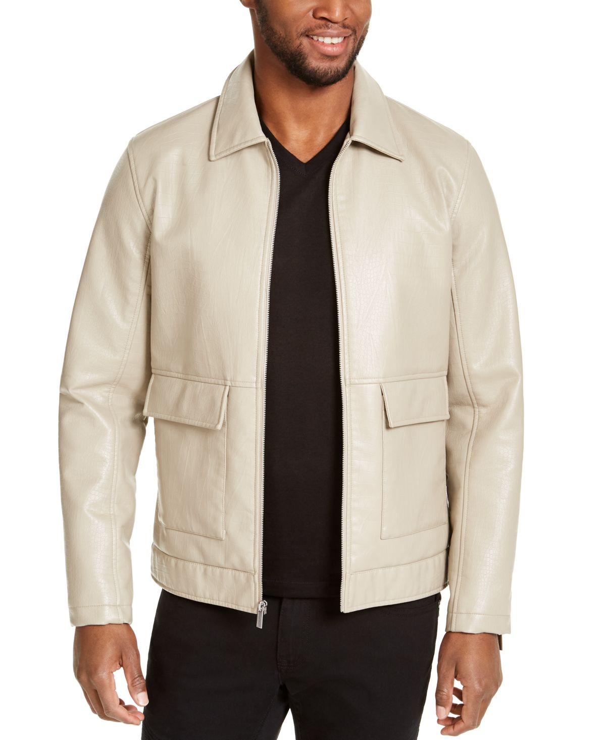 Inc Men S Harrington Faux Leather Embossed Jacket Created For Macy S Walnut Beige Embossed Leather Faux Leather Jackets Faux Leather [ 1466 x 1200 Pixel ]