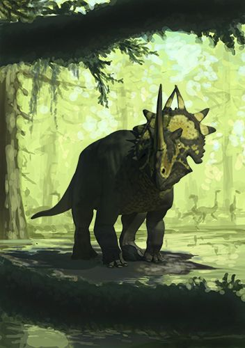 DinoArt: Rubeosaurus. Sketch in color.