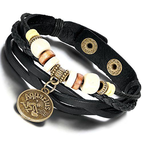Arocent Handmade Leather Bracelet with Constellation Zodiac Sign Logo Charms…