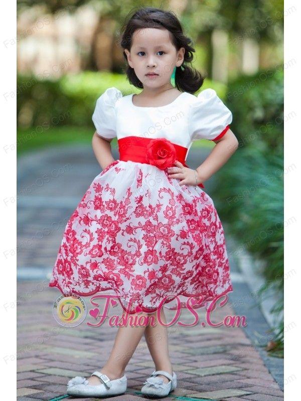 White A-line Scoop Knee-length Flower Girl Dress Taffeta and ...