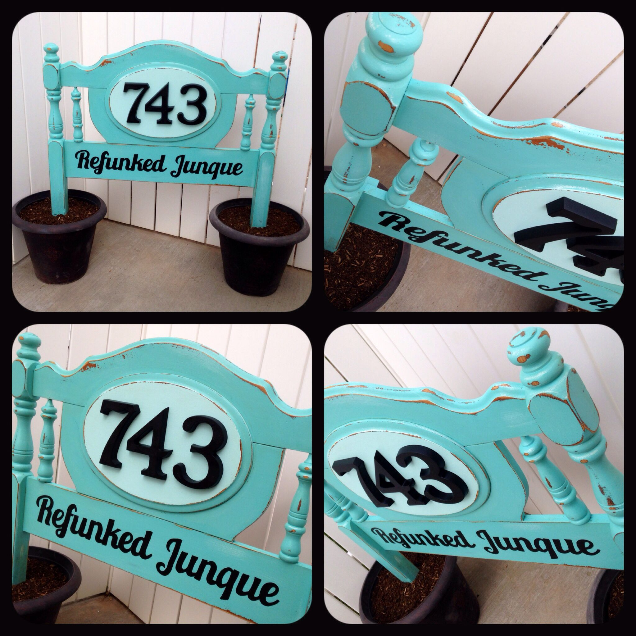 Old Headboard Turned Business Address Sign And Flower Pot Love