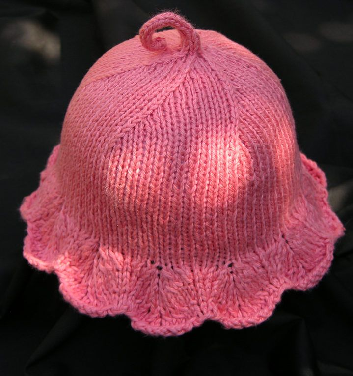 33f8143a20a Free Knitting Pattern for On the Sunny Side Baby Sun Hat - Lace brimmed  baby hat with scalloped edges formed by lace. Sizes 3 month – 2 4T.