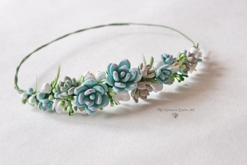 Wedding Blue succulents headband Bridal head wreath with succulents and flowers boho floral crown Wedding floral tiara Flower crown