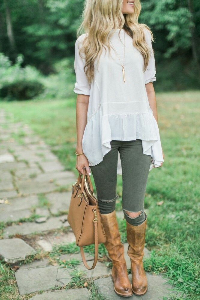 Olive skinnies and lace back boots
