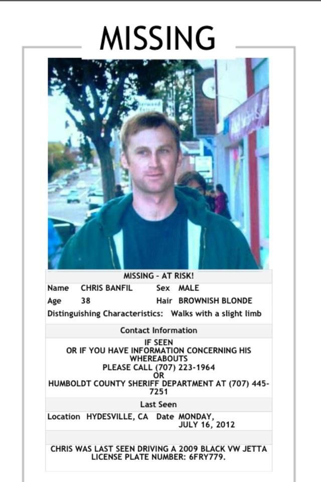 Missing Person Template Missing Persons Of Americachris Banfil Missing From California .