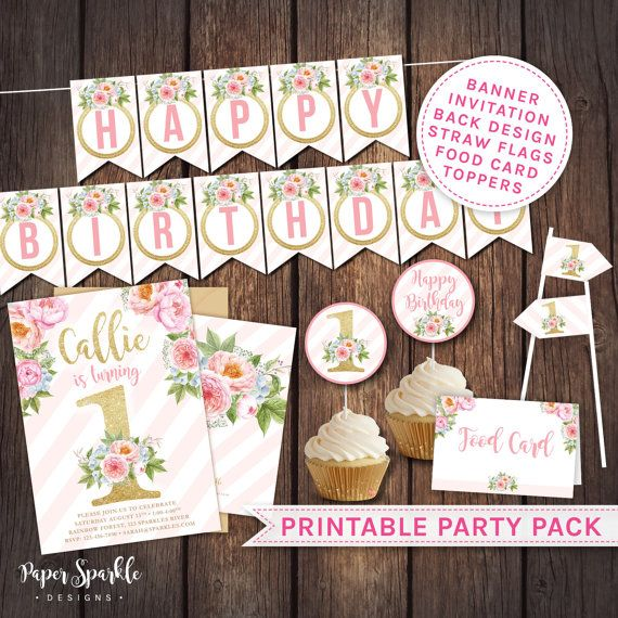 First Birthday invitation First birthday party pack floral