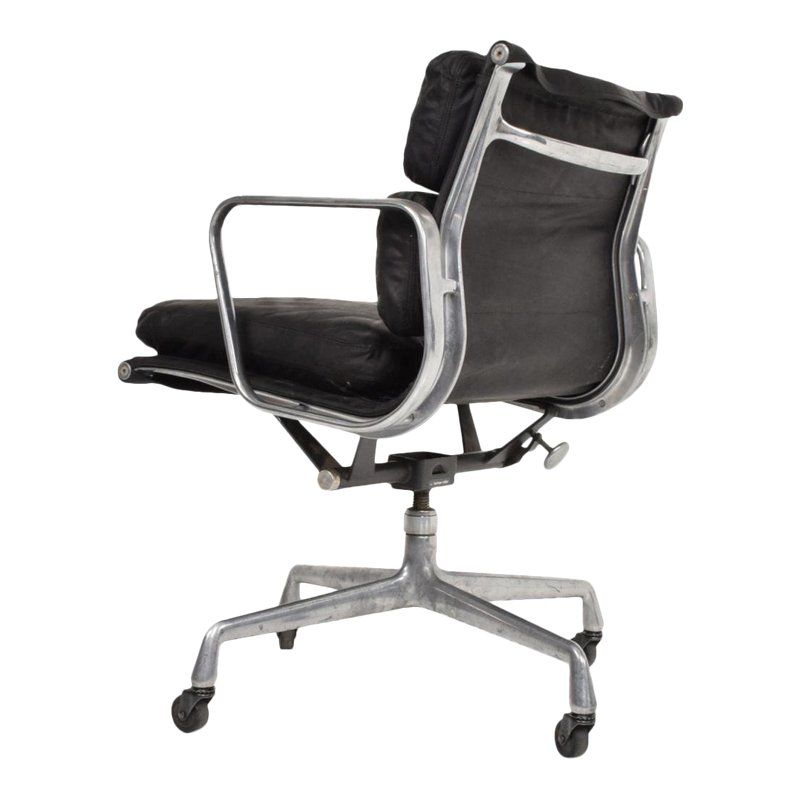 Remarkable Mid Century Modern Black Leather Aluminum Office Chair By Ncnpc Chair Design For Home Ncnpcorg