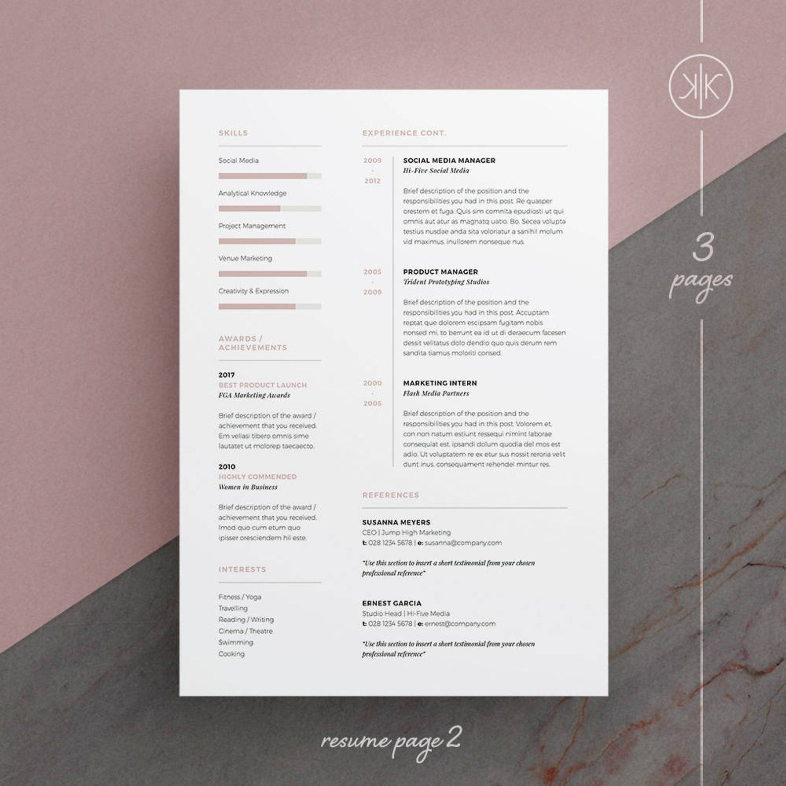 Abby Resume/CV Template Word InDesign