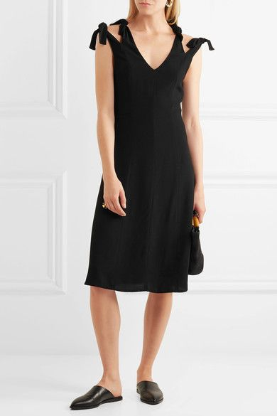 Knotted Cutout Crepe Dress - Black Rosetta Getty 3Hfhg9d