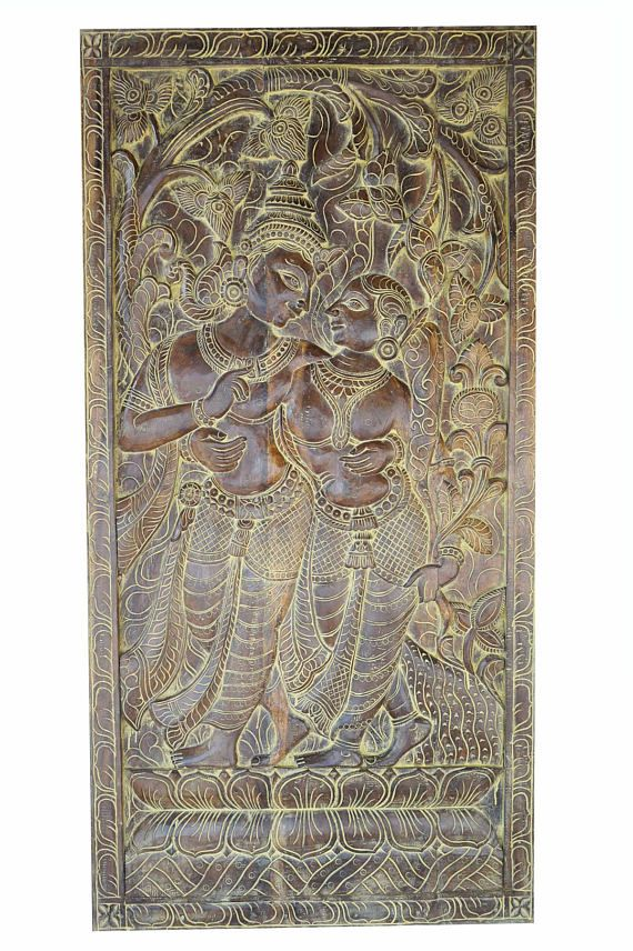 Indian Carved Wood Wall Panels Of Krishna Radha Spending Time With Each Other Under Kadambari Tree India Carved Wood Wall Panels Hand Carved Indian Wall Art