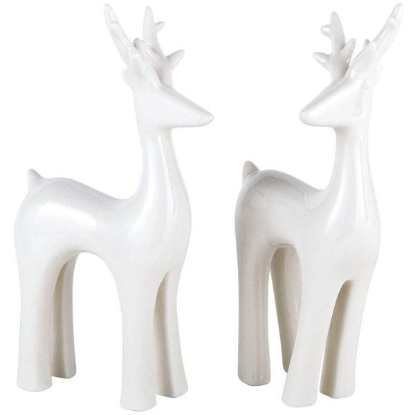 Gisela Graham Set Of 2 White Ceramic Deer Christmas Ornaments ($18) ❤ liked on Polyvore featuring home, home decor, holiday decorations, european home decor, ceramic christmas ornaments, deer christmas ornaments, deer ornaments and ceramic home decor
