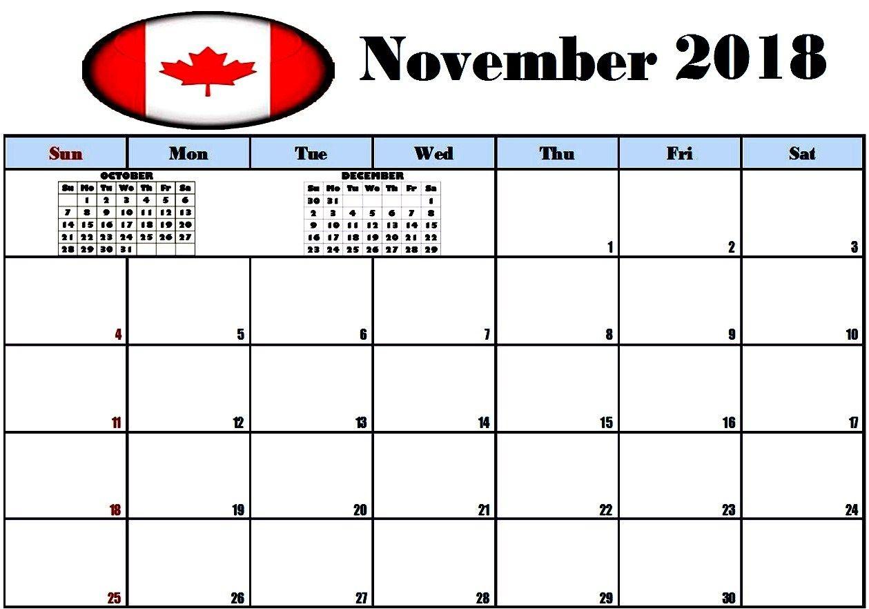 November 2018 Calendar Canada November Calendar 2018 Holiday