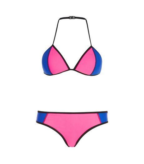 2063d10317 Teens Pink Colour Block Bikini Set