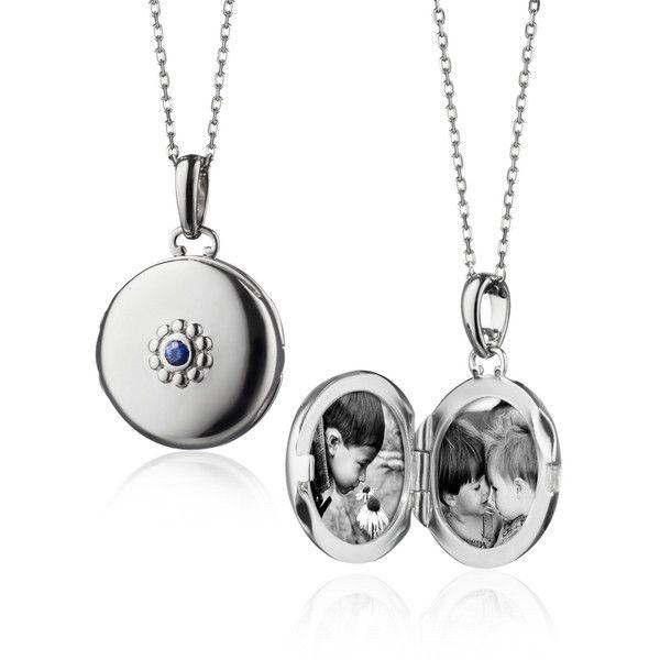 Monica Rich Kosann Monica Rich Kosann Petite Sapphire Locket (£315) ❤ liked on Polyvore featuring jewelry, pendants, necklaces, monica rich kosann locket, monica rich kosann, heart locket, sapphire jewellery and sapphire jewelry