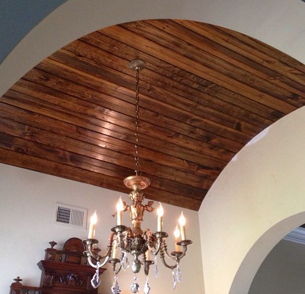 Arched Ceiling With Stained Tongue Groove Wood My Hubby S Handy Work Home Decor House Painting Wall Color