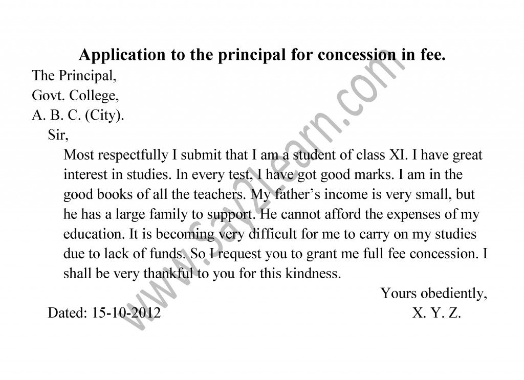 Application To The Principal For Concession In Fee  Multan
