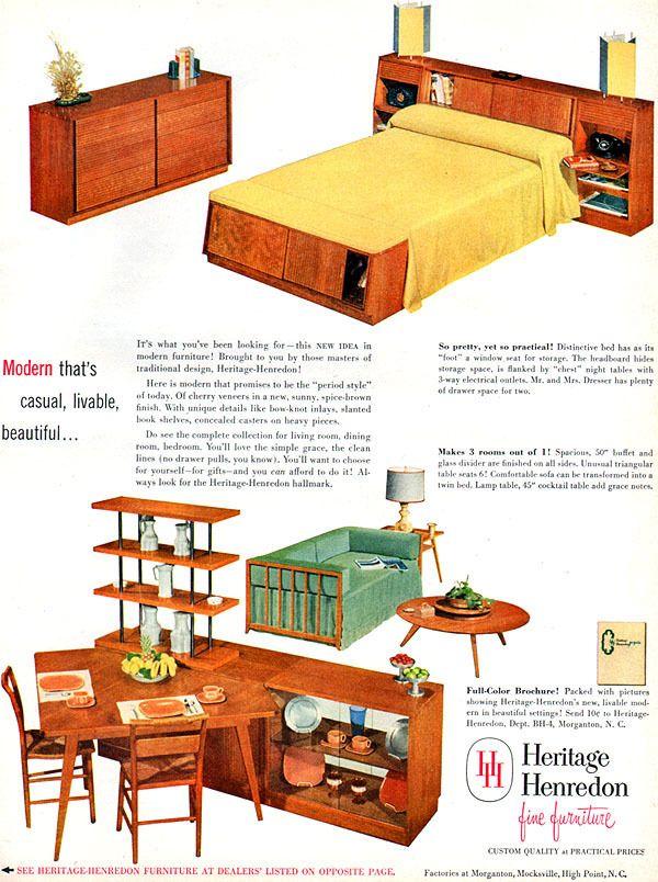 Heritage Henredon Furniture MID CENTURY MODERN  Bedroom Suite  LIVING ROOM  1952 ad. Heritage Henredon Furniture MID CENTURY MODERN  Bedroom Suite