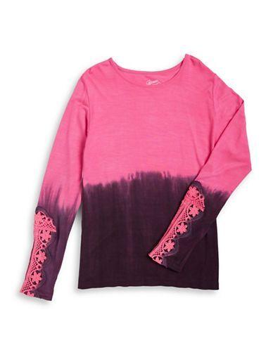 Flowers By Zoe Girls 7-16 Dip-Dye Crocheted Top  Pink Small