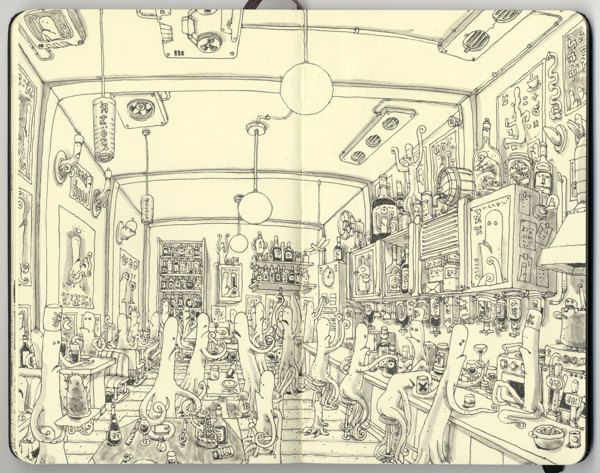 Snatched spreads 23-24 Sketchbook by Mattias Adolfsson, via Behance