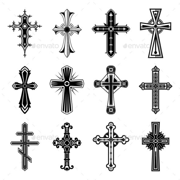 Religion Crosses Isolated Symbol Of Christian And Catholic Faith In
