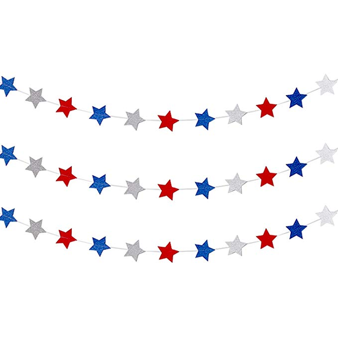 Amazon Com Frienda Red White Blue Star Streamers Patriotic 4th Of July Decorations Sparkling Star G 4th Of July Decorations Star Garland Patriotic Decorations
