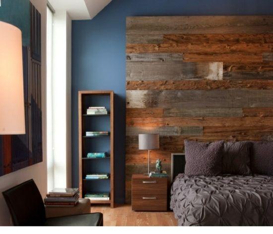 holz europaletten wand-schlafzimmer-rustikale regale | interior, Schlafzimmer entwurf