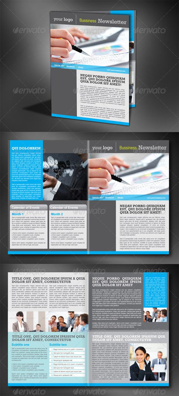 4 Pages Modern Newsletter #GraphicRiver This is a modern and fresh - company newsletter