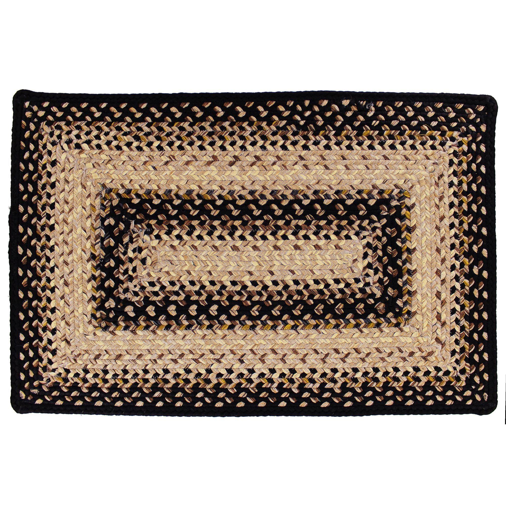 Black mist rectangle ultra durable braided rug 5x8