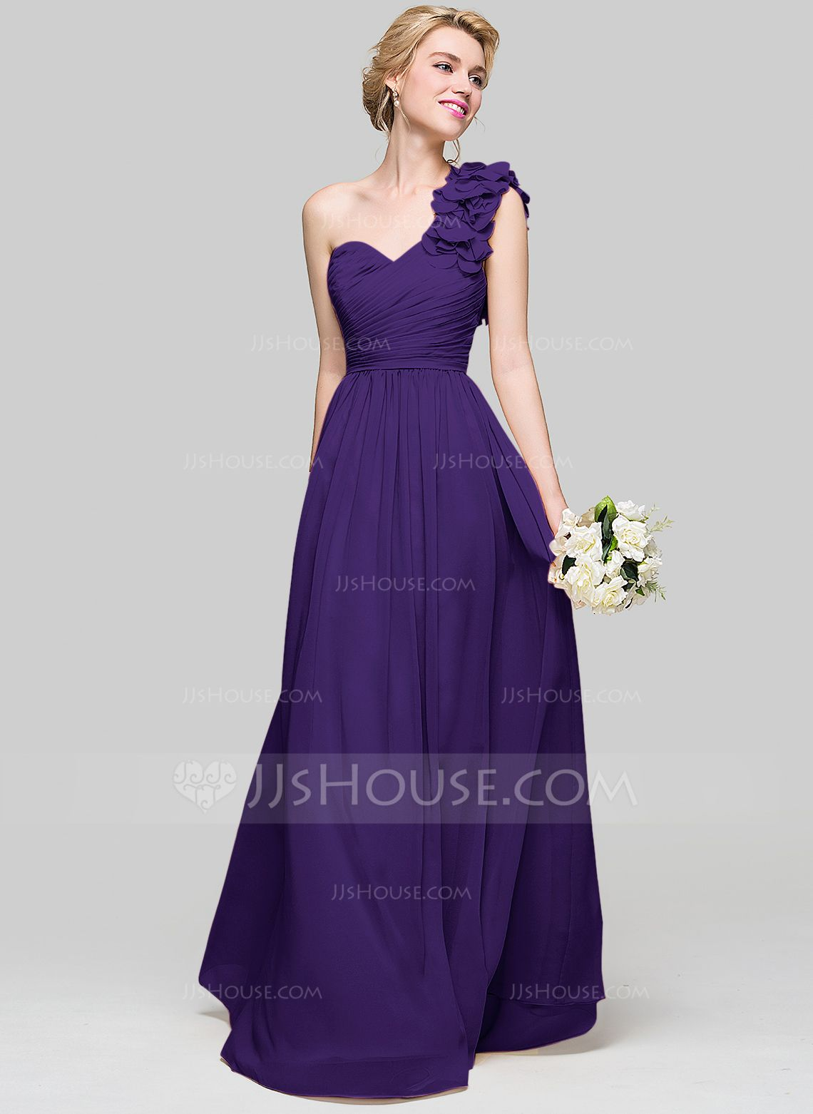 72f707f34fd7 A-Line/Princess One-Shoulder Floor-Length Chiffon Bridesmaid Dress With Ruffle  Flower(s) (007094023) - Bridesmaid Dresses - JJsHouse