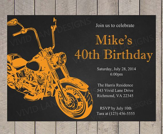 Motorcycle adult birthday invitation birthday by vividlanedesigns motorcycle adult birthday invitation birthday by vividlanedesigns filmwisefo Image collections