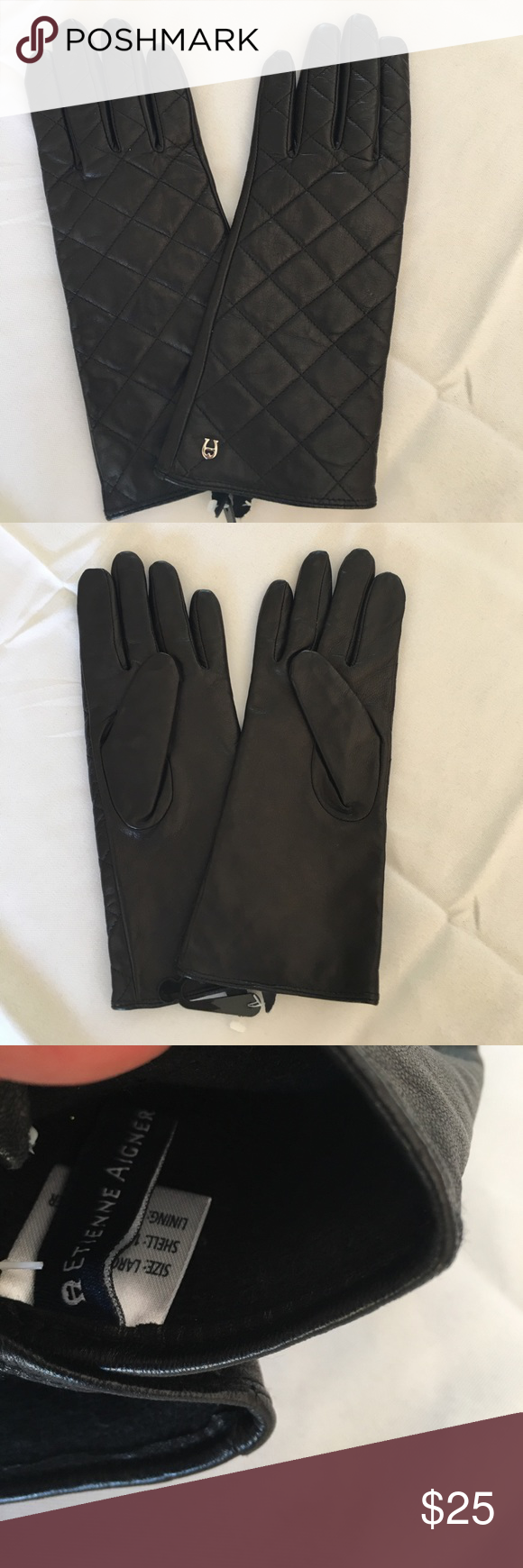 Etienne aigner black leather gloves -