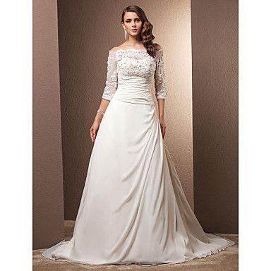 Lanting+Bride®+A-Linie+Extraklein+/+Übergrößen+Hochzeitskleid+-+Klassisch+&+Zeitlos+/+Glamurös+&+Dramatisch+Vintage+InspirationenHof+–+EUR+€+176.39