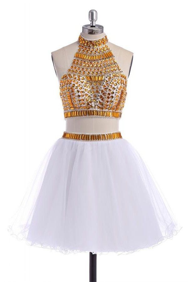6e94982bb9a Sparkly 2 Pieces White Short Halter Homecoming Dresses K282 ...
